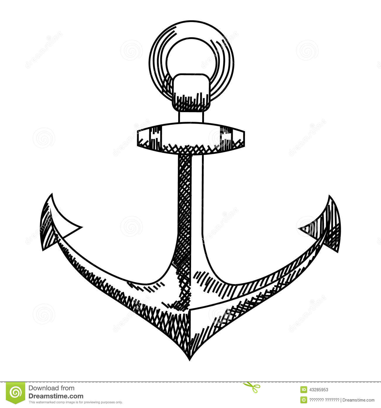 Anchor Icon Nautical Vector Isolated White Black Stock