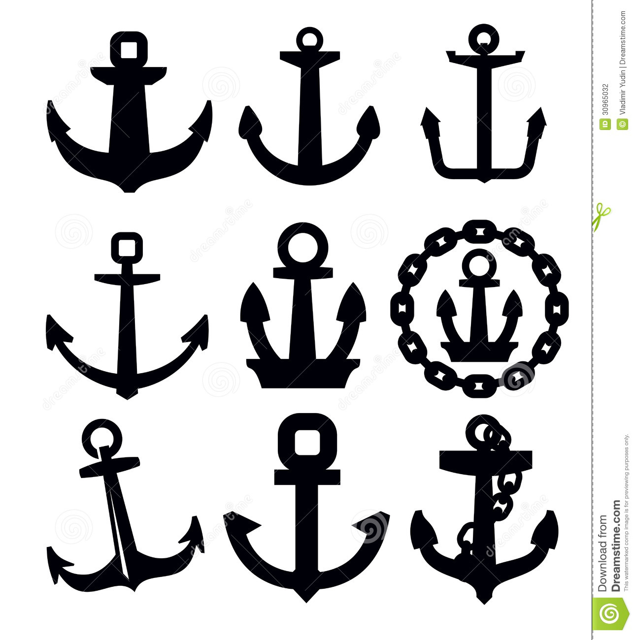 Anchor Icon Set Stock Vector Illustration Of Chain Water