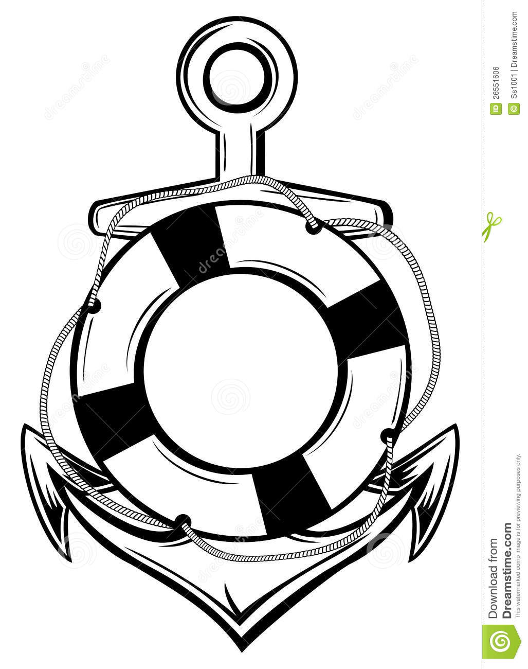 Anchor And Ring Buoy Stock Vector Illustration Of Ring