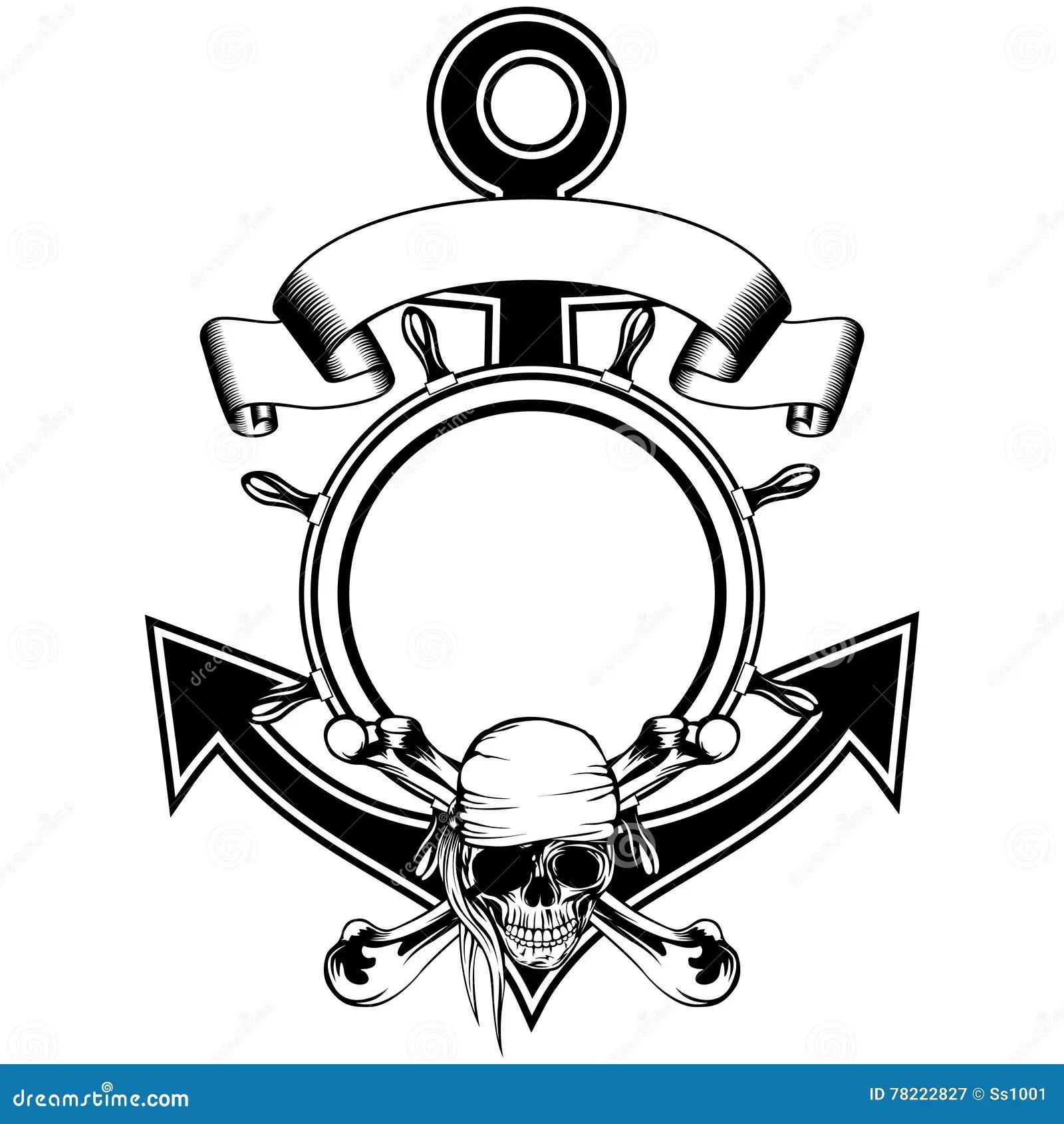 Anchor Steering Wheel Skull Stock Vector