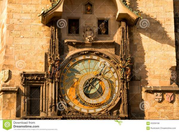Ancient Astronomical Clock stock photo. Image of ...