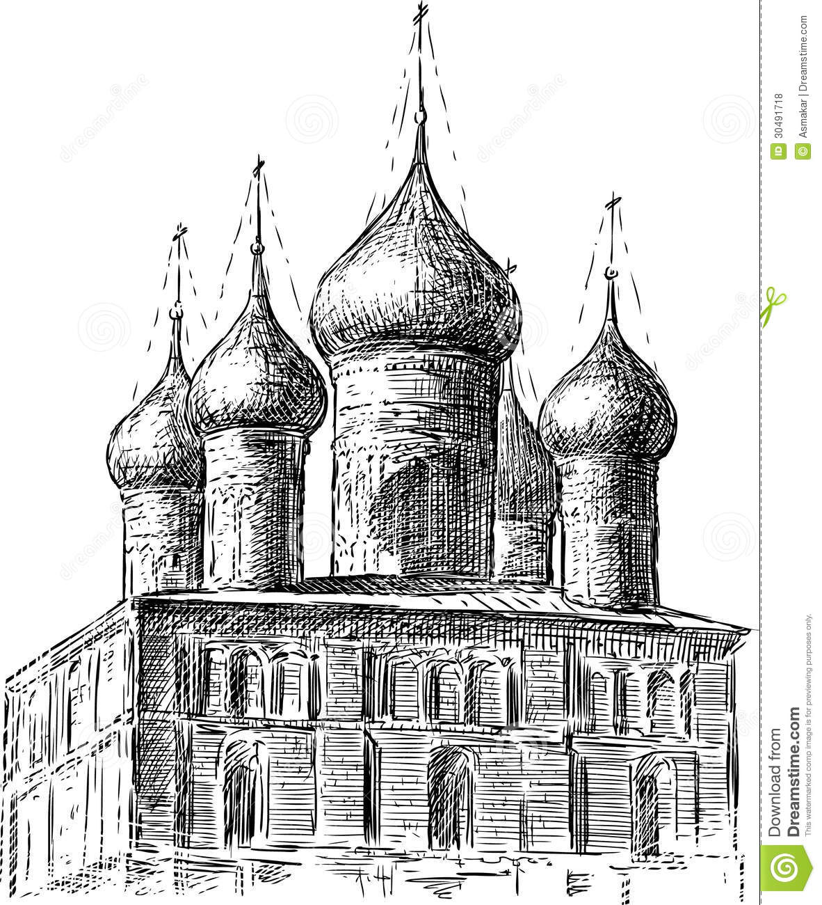 Ancient Church Stock Vector Illustration Of Dome Detail