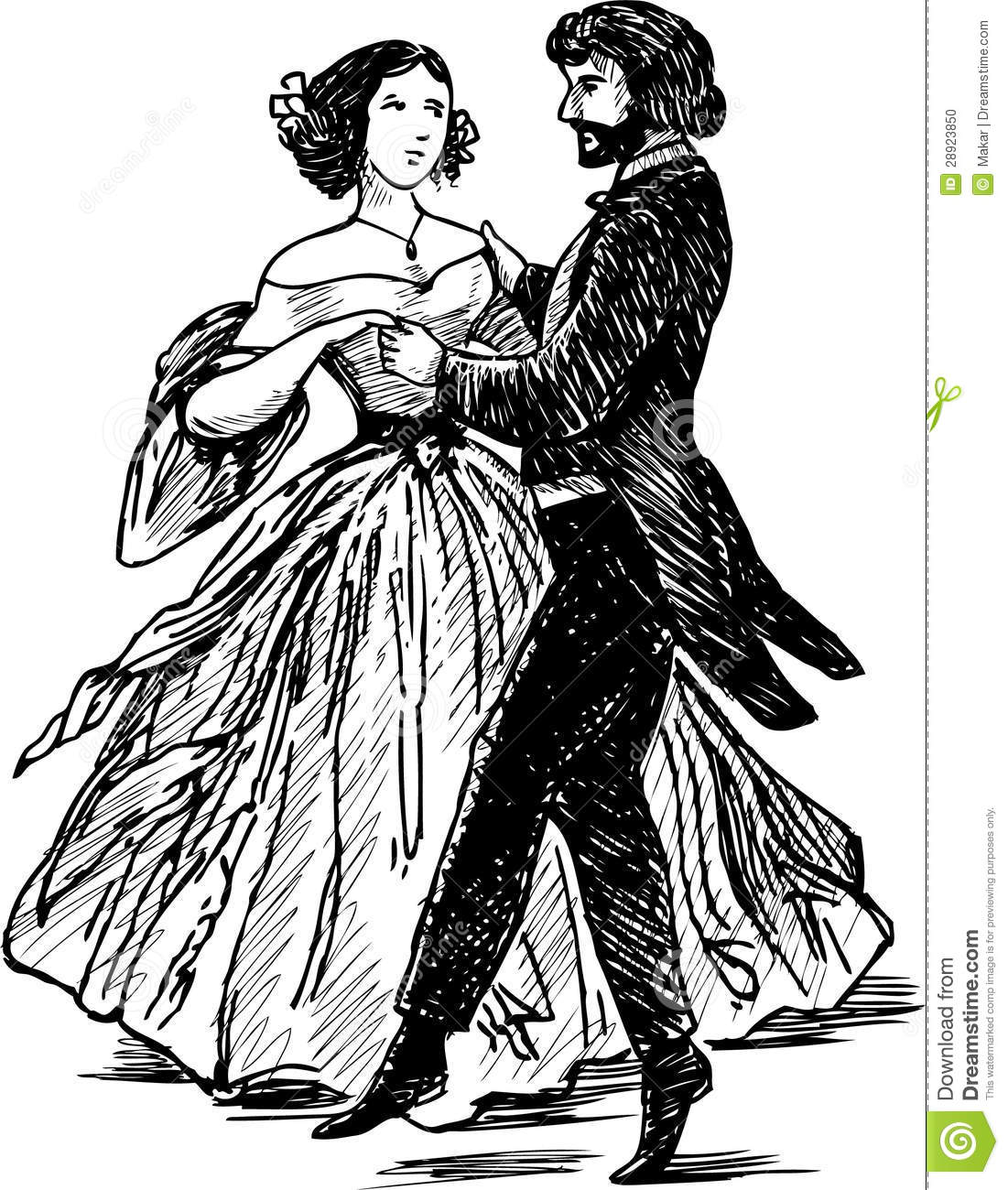 Ancient Dancing Pair Stock Vector Illustration Of Party