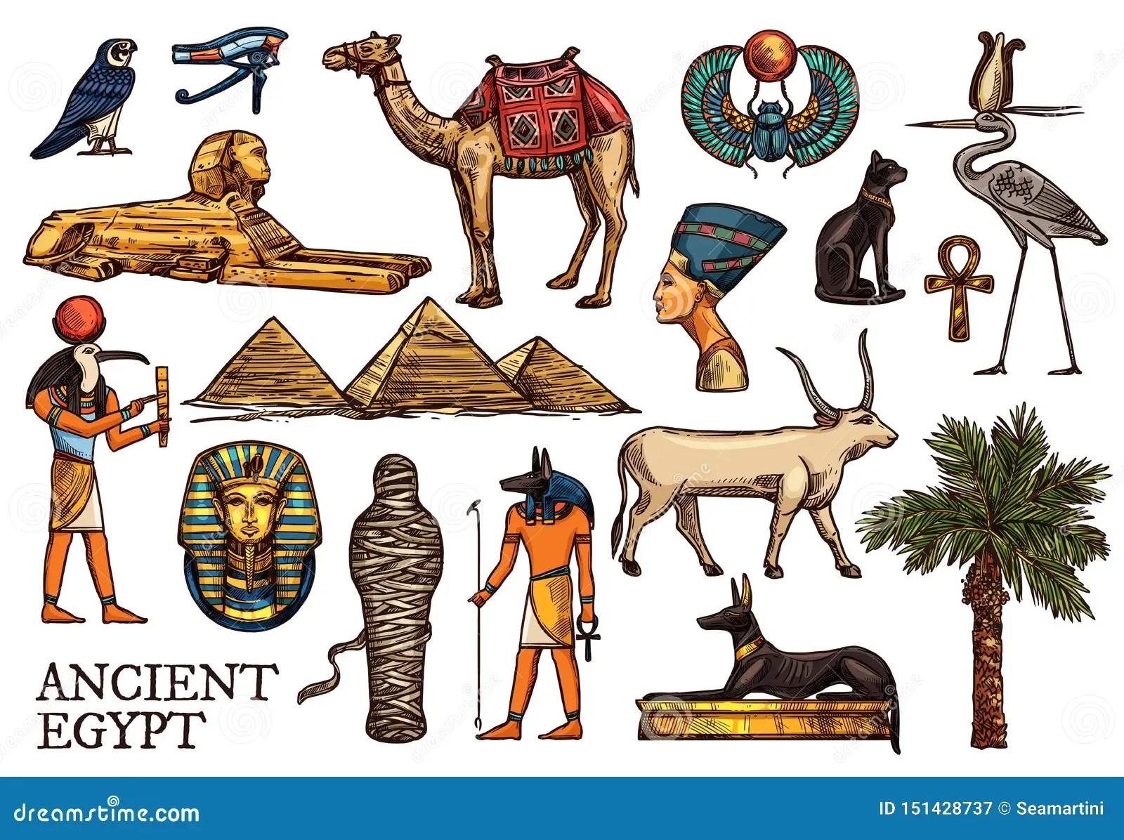 Ancient Egypt Religion God Pharaon Pyramid Mummy Stock