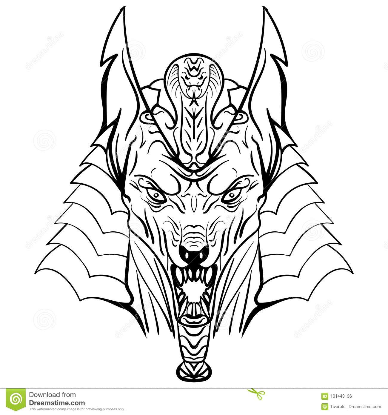 Ancient Egyptian God Anubis Head Illustration Stock Vector
