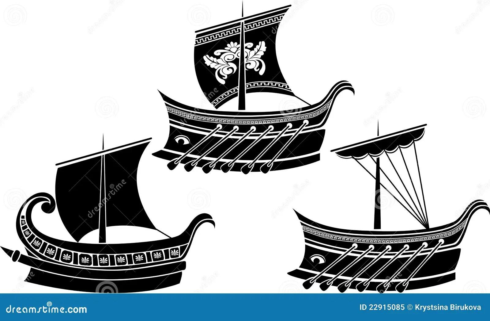 Ancient Greek Ship Set Royalty Free Stock Photo