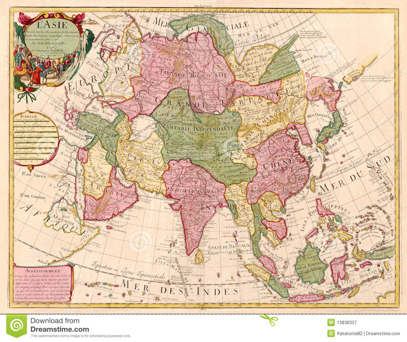 Ancient Map Of Asia Stock Illustration Illustration Of