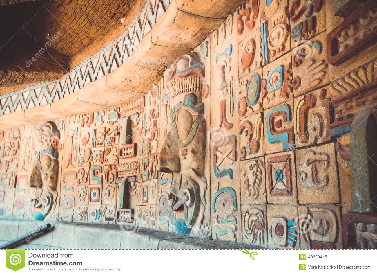 Ancient Maya And Aztecs Pattern Stock Image