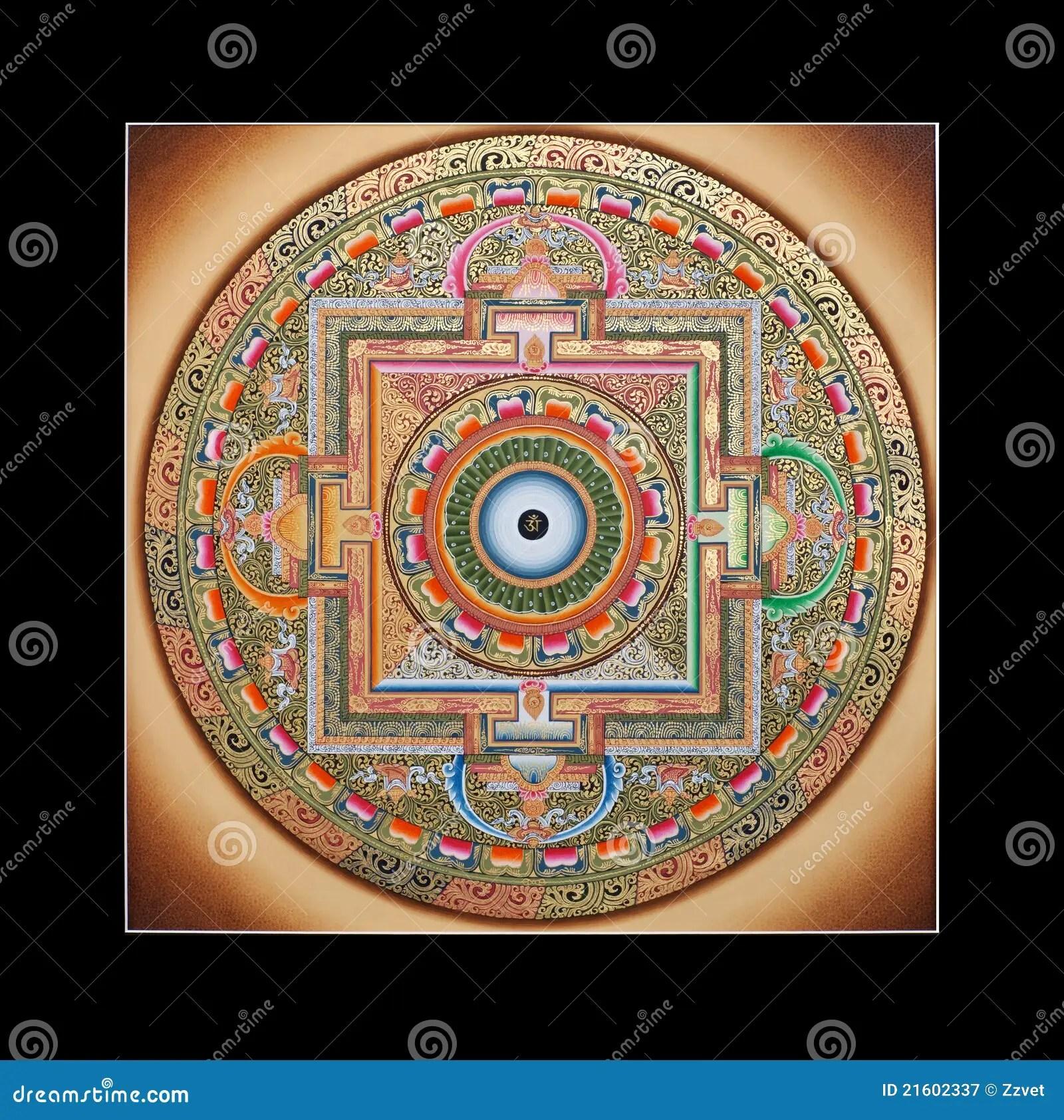 Ancient Tibetan Tangka Ohm Mandala Royalty Free Stock