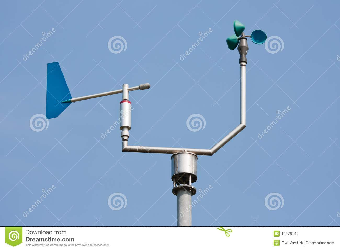 Anemometer Measuring Wind Speed And Direction Stock Photo