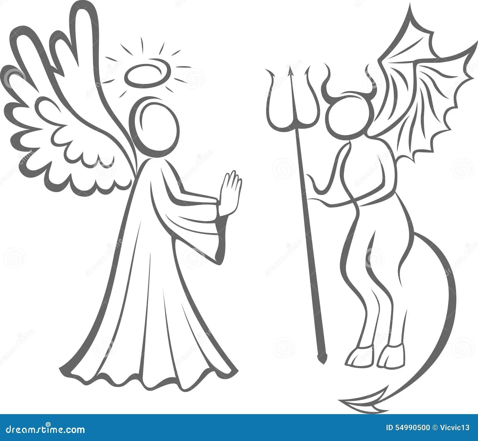 Angel And Devil Good Against Evil Decision Taking Stock
