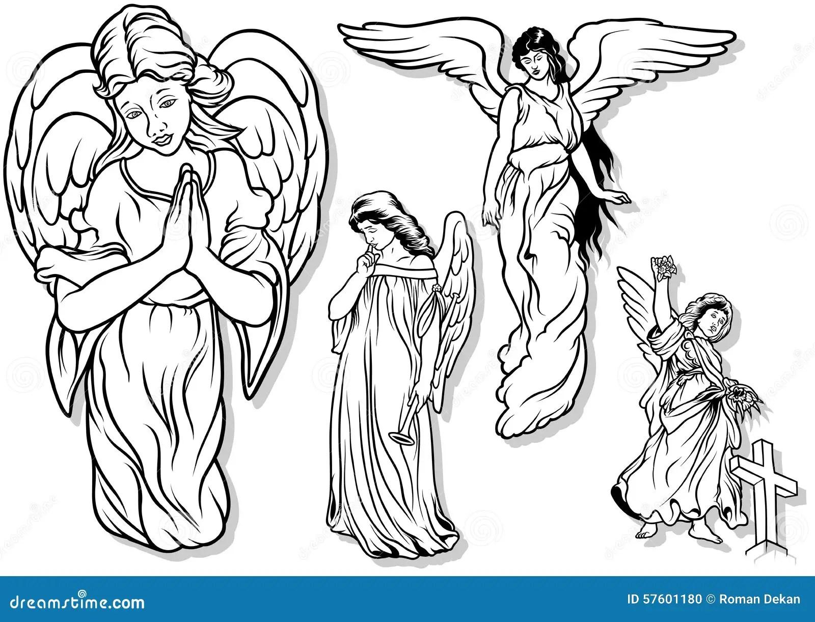 Angel Set Stock Vector Illustration Of Religious