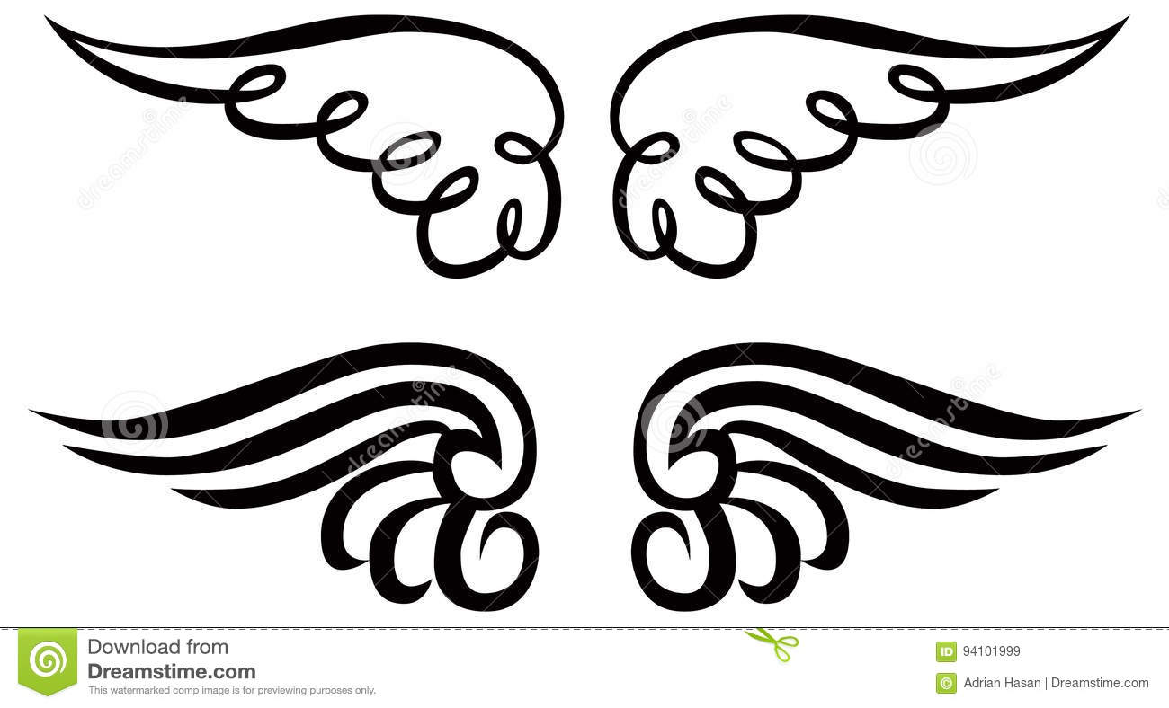 Angel Wings Ornament Clip Art Vector Line Art Stock
