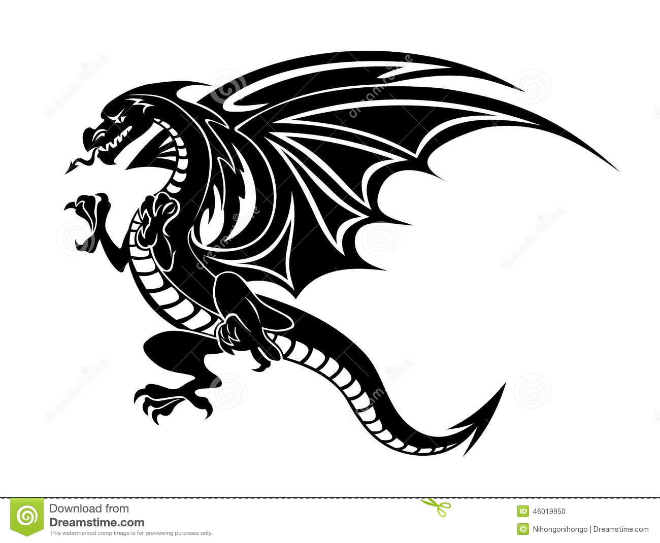Angry Black Dragon Stock Vector Illustration Of Design