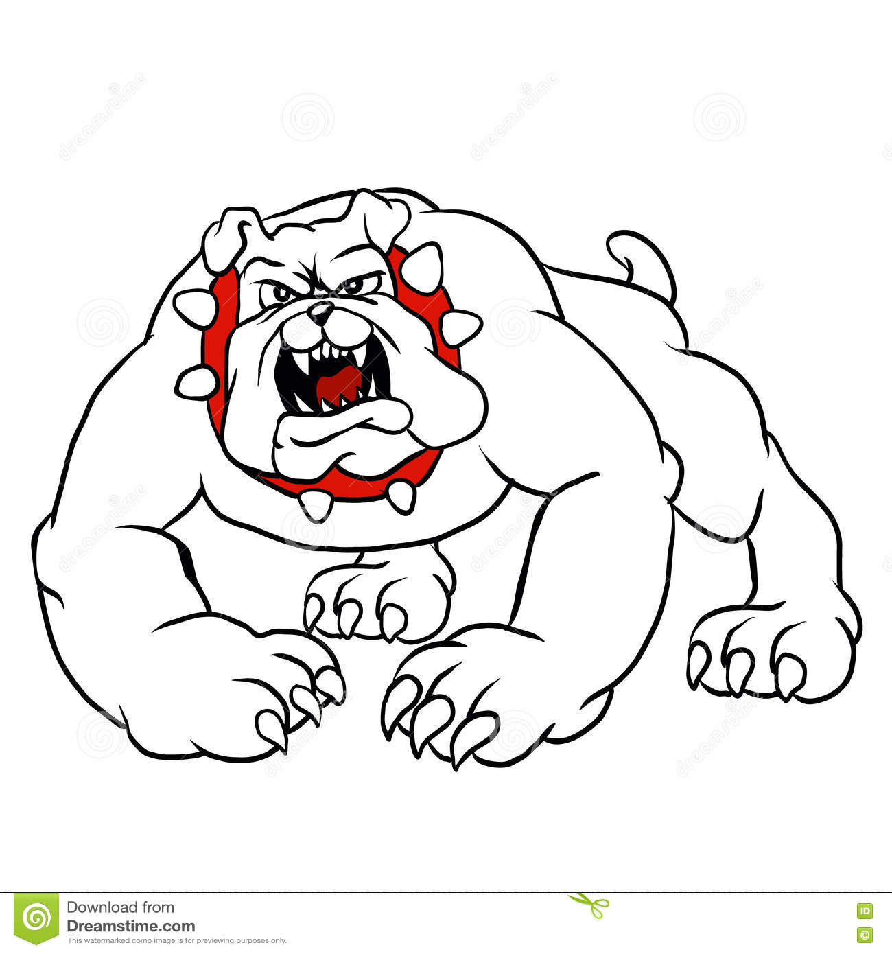 Angry Bulldog Head Circle Cartoon Vector Illustration