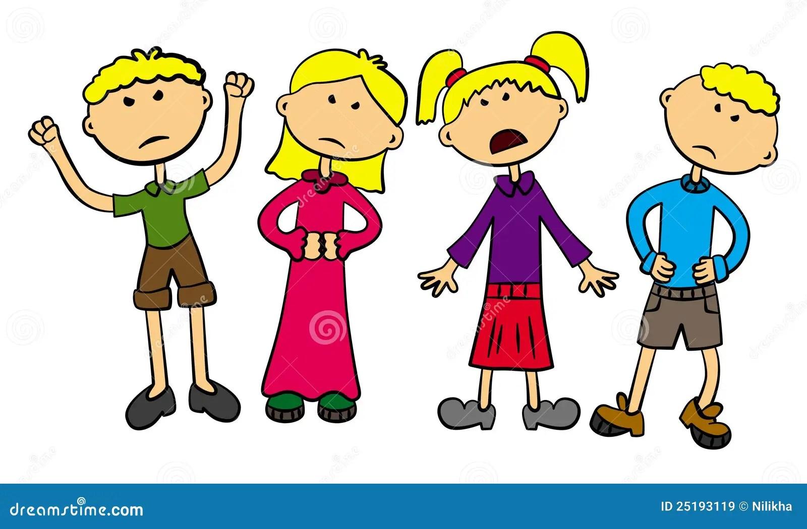 Angry Kids Stock Illustration Illustration Of Disagree