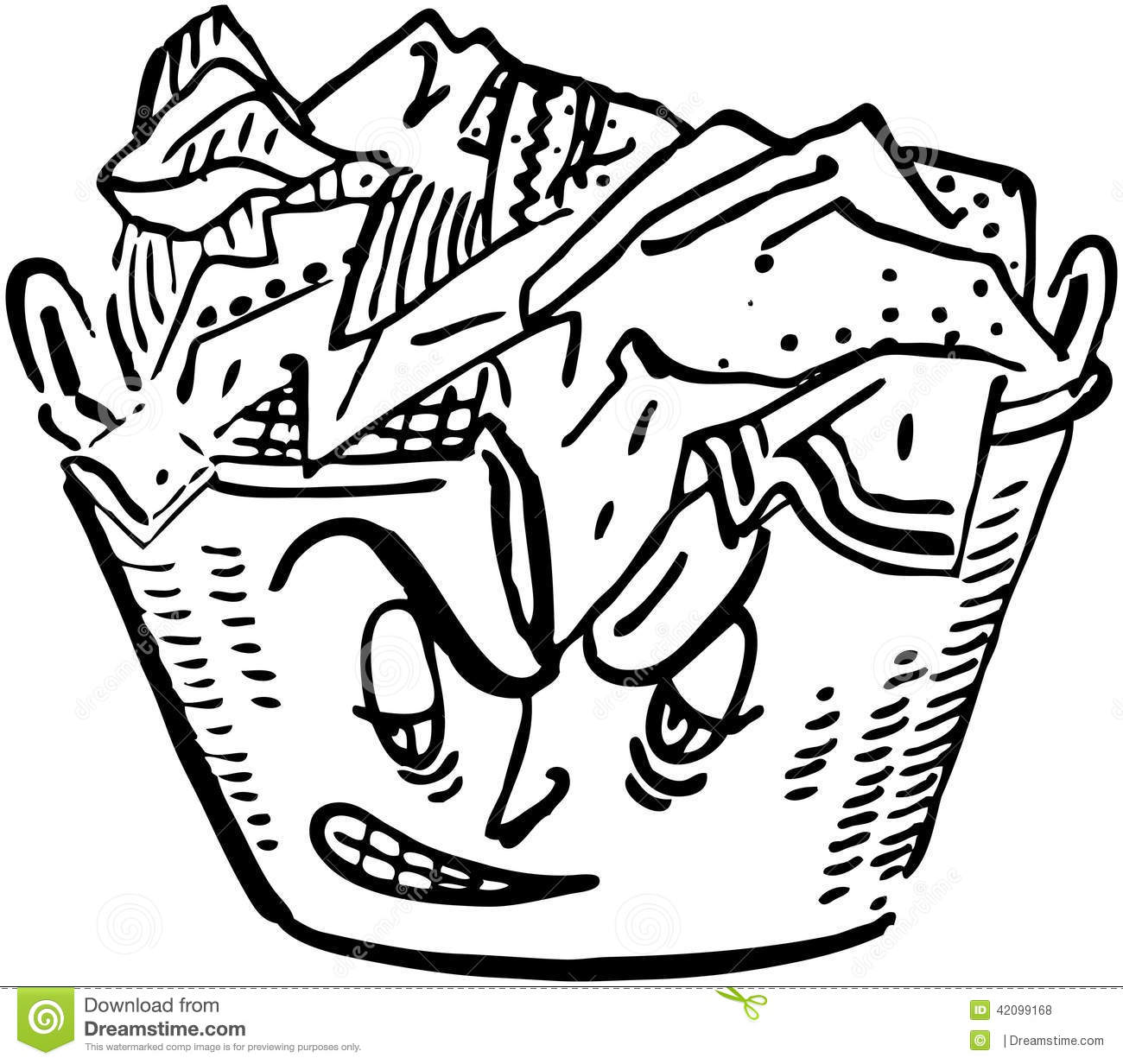 Angry Laundry Basket Stock Vector Illustration Of Retro
