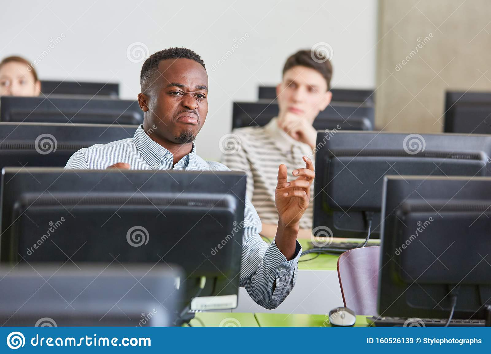 Angry Man As African Student Stock Image