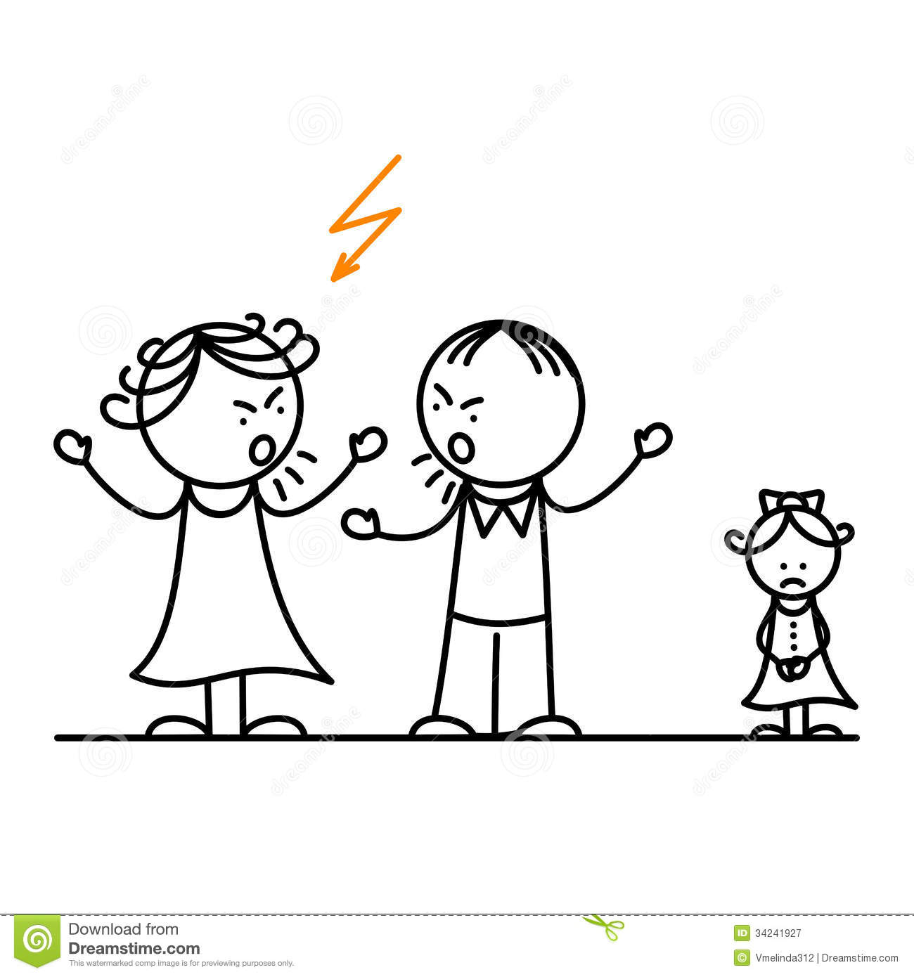 Angry Parents And Sad Girl Stock Vector Image Of Husband
