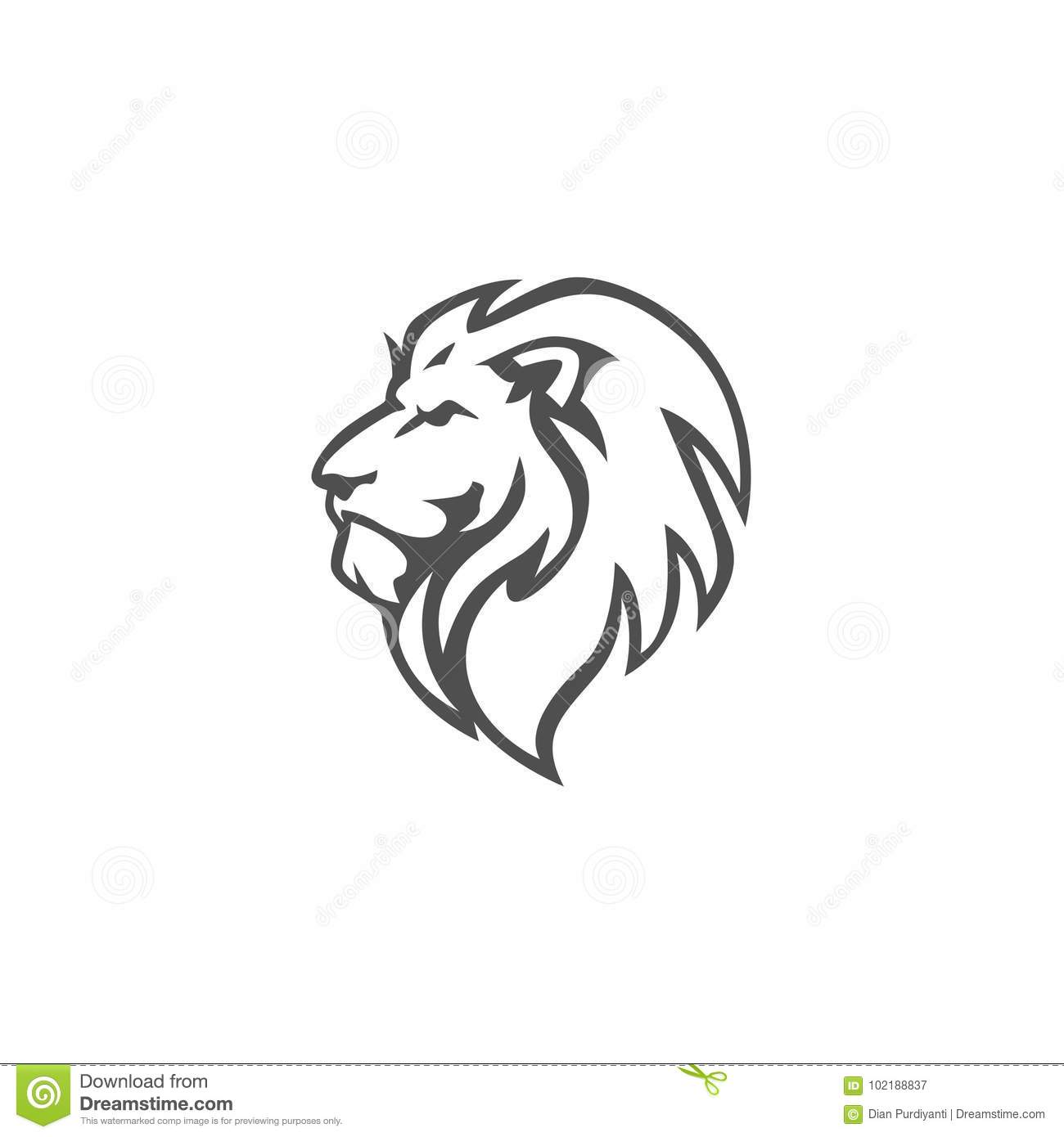 Angry Roar Lion Head Black And White Vector Logo Design