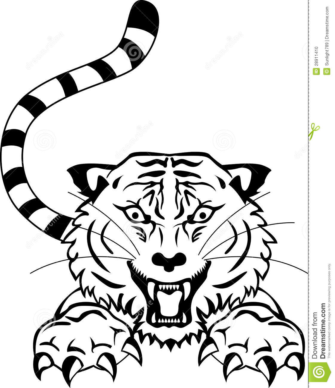 Angry Tiger Tattoo Stock Photo