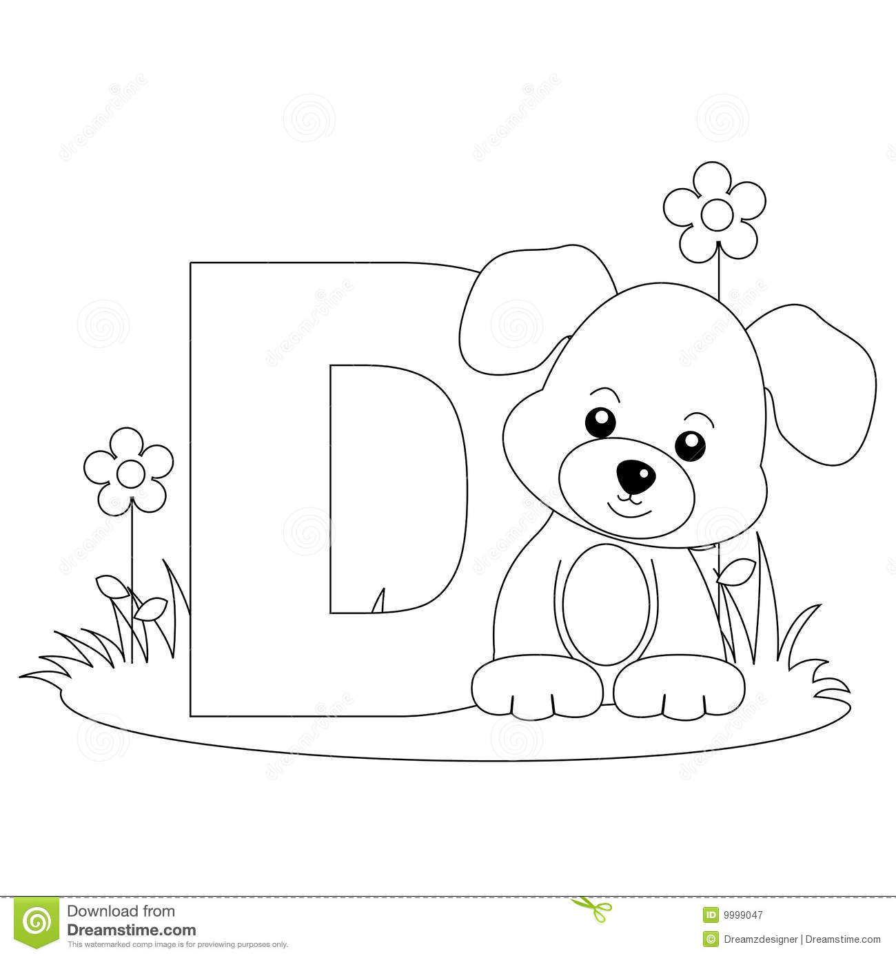 Animal Alphabet D Coloring Page Royalty Free Stock