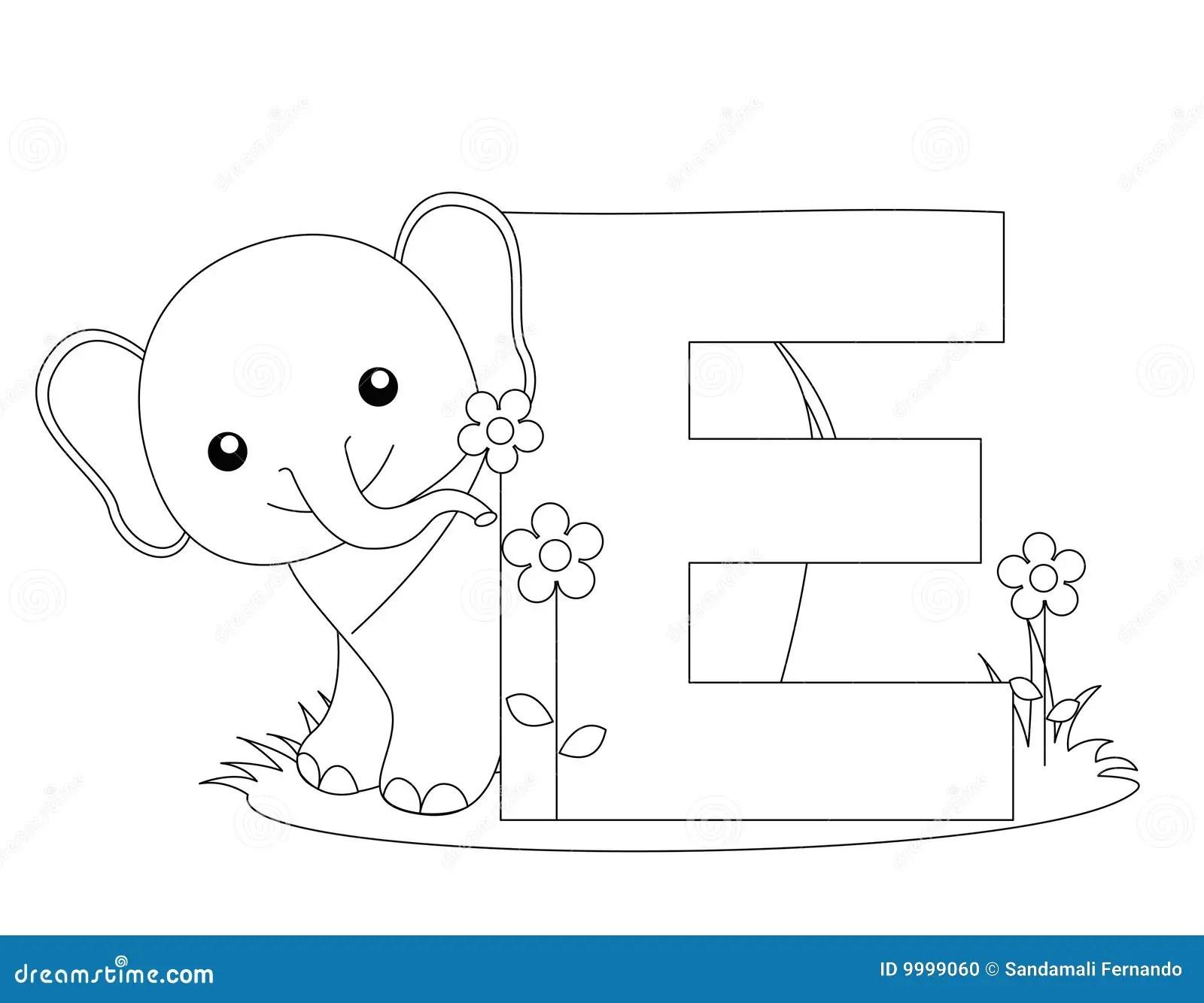 Animal Alphabet E Coloring Page Stock Vector
