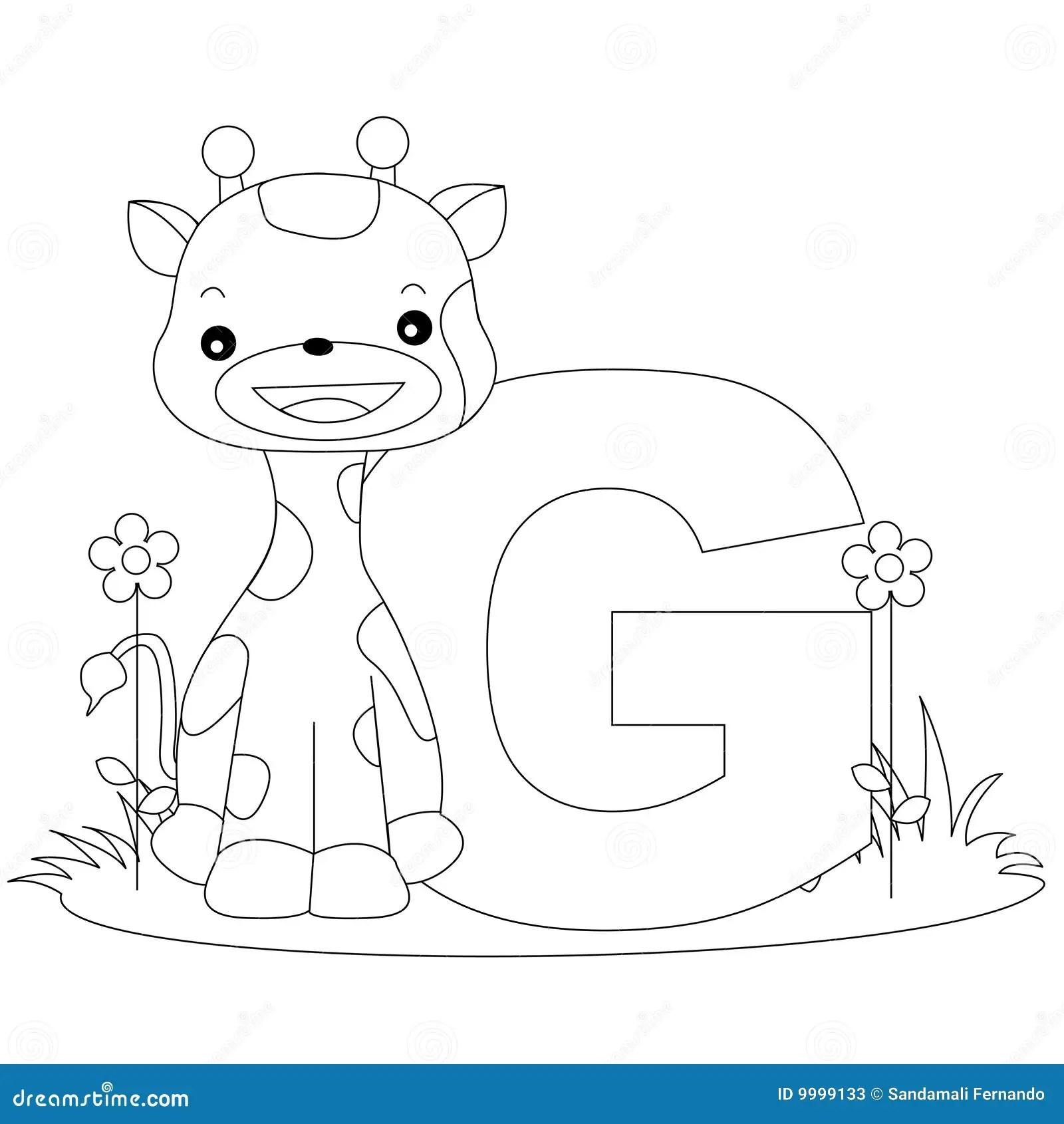 Animal Alphabet G Coloring Page Stock Photos