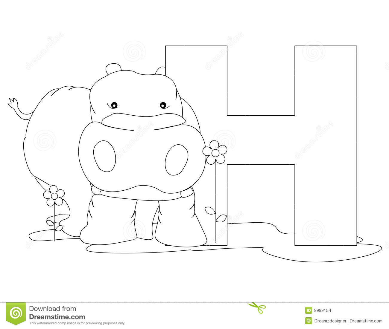 Animal Alphabet H Coloring Page Stock Images