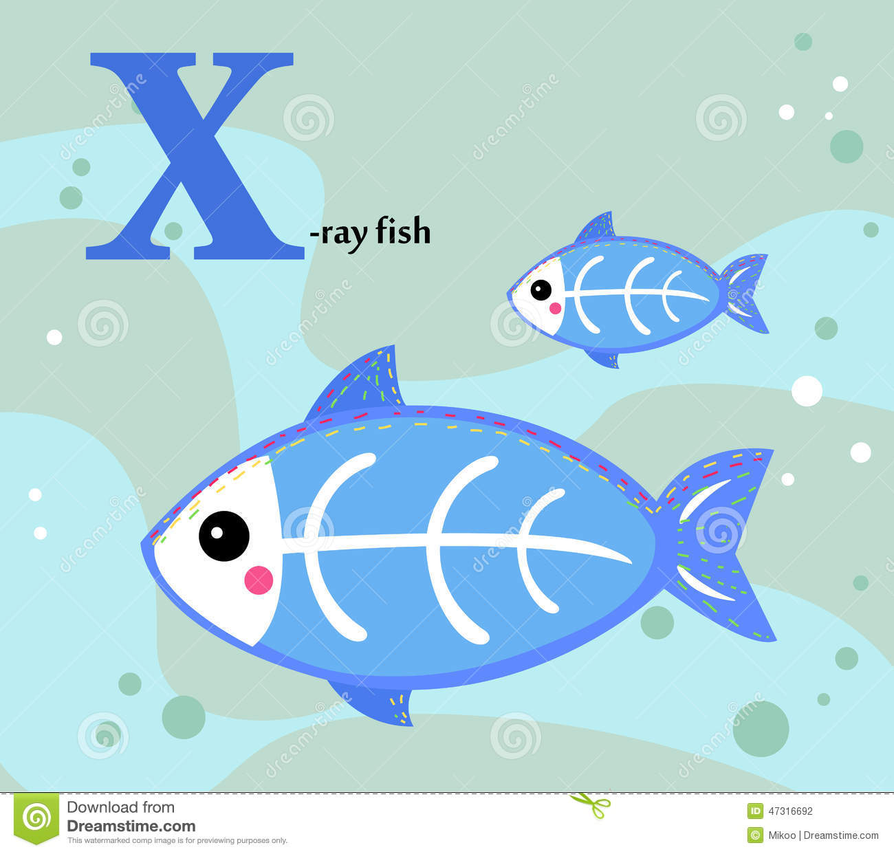 Animal Alphabet For The Kids X For The X Ray Fish Stock