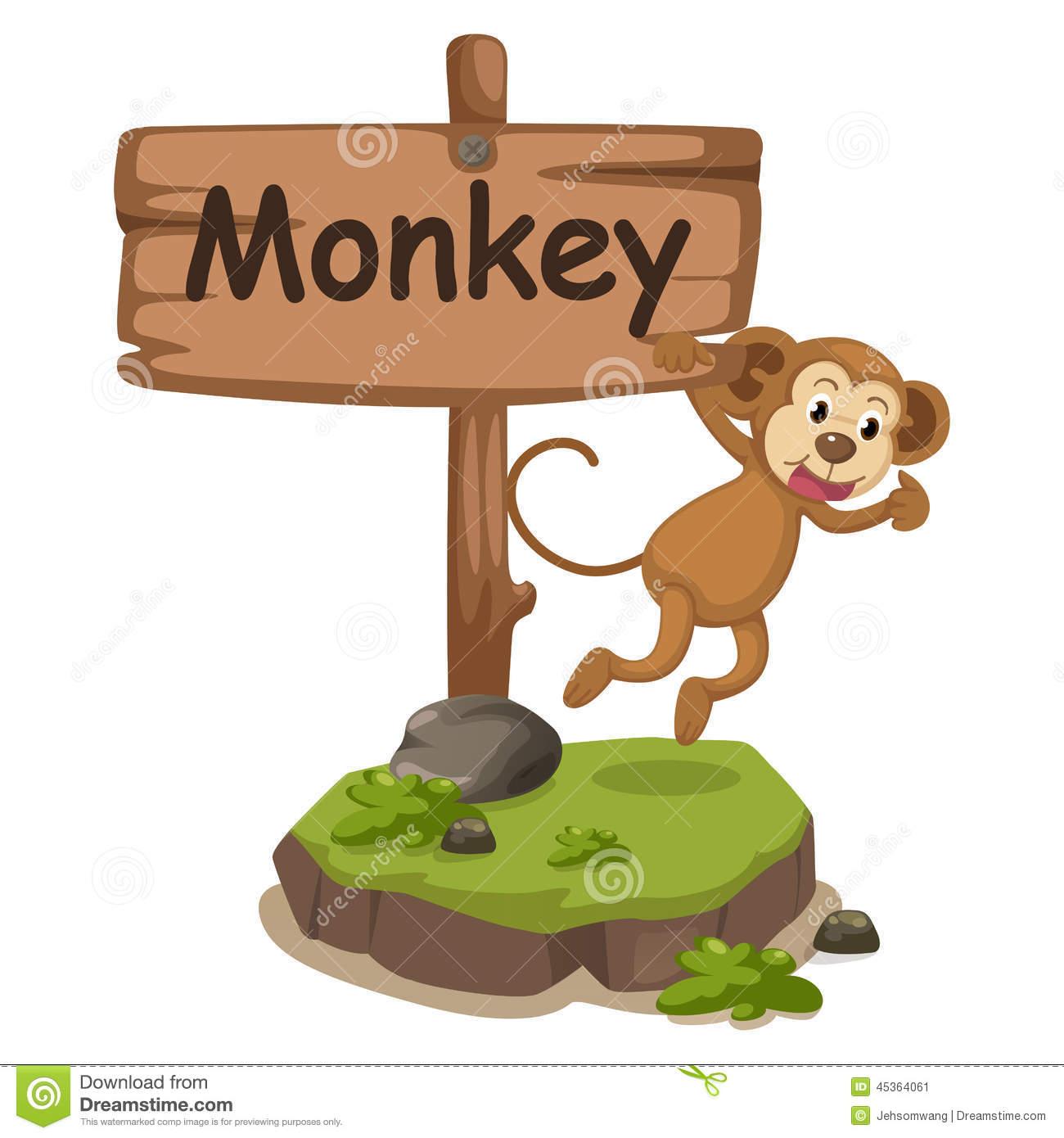Animal Alphabet Letter M For Monkey Stock Vector