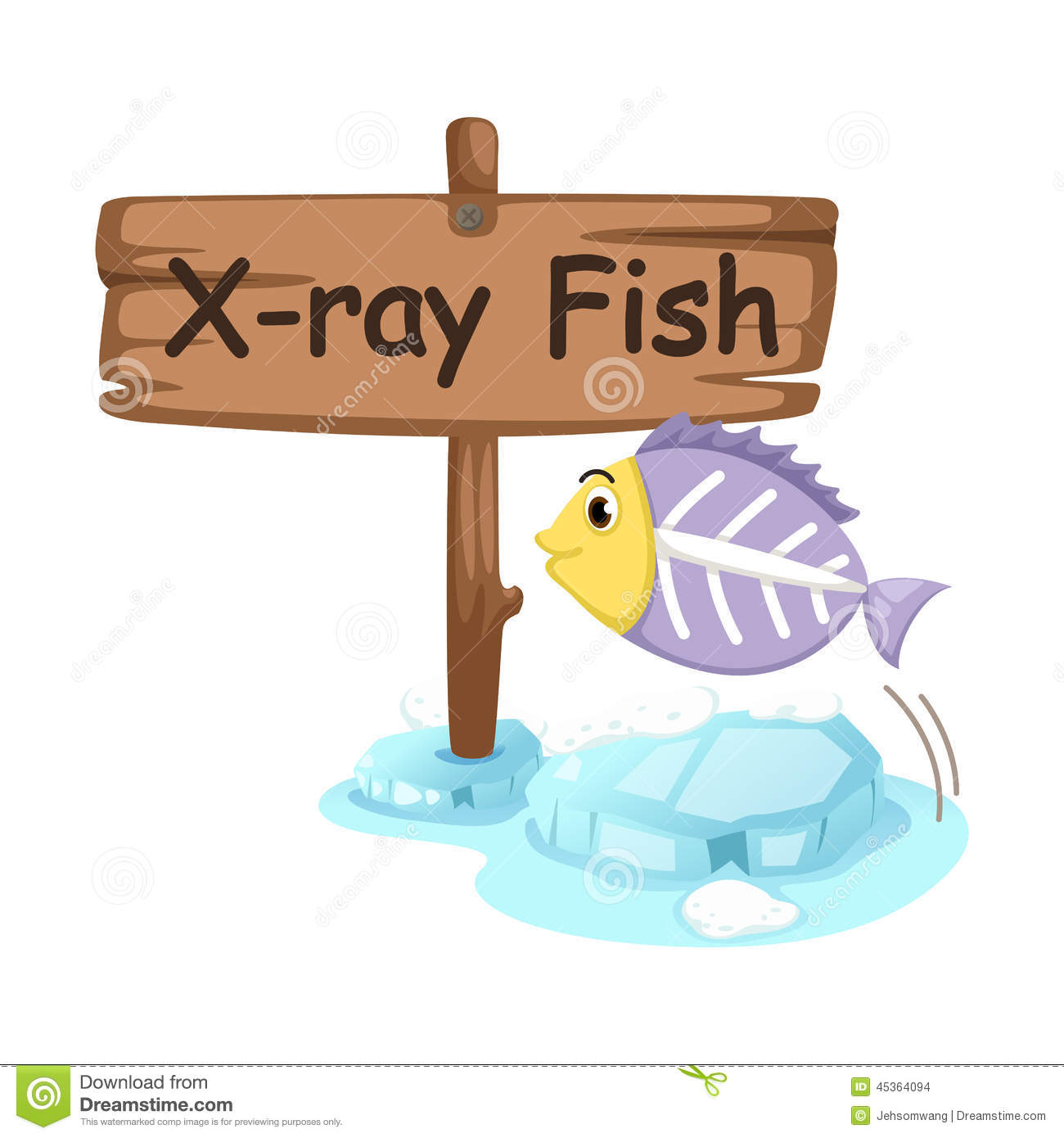 Animal Alphabet Letter X For X Ray Fish Stock Vector