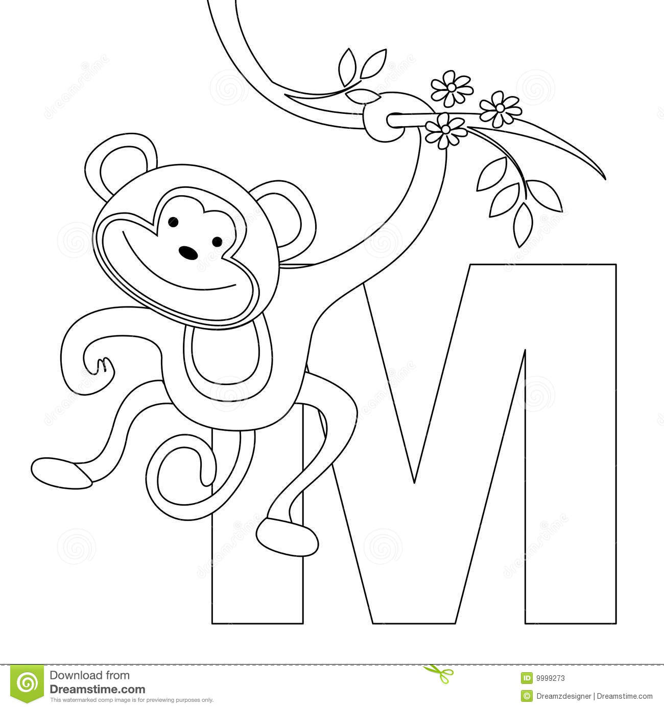 Animal Alphabet M Coloring Page Stock Photos