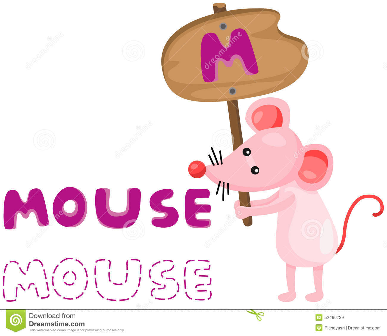 Animal Alphabet M With Mouse Stock Vector
