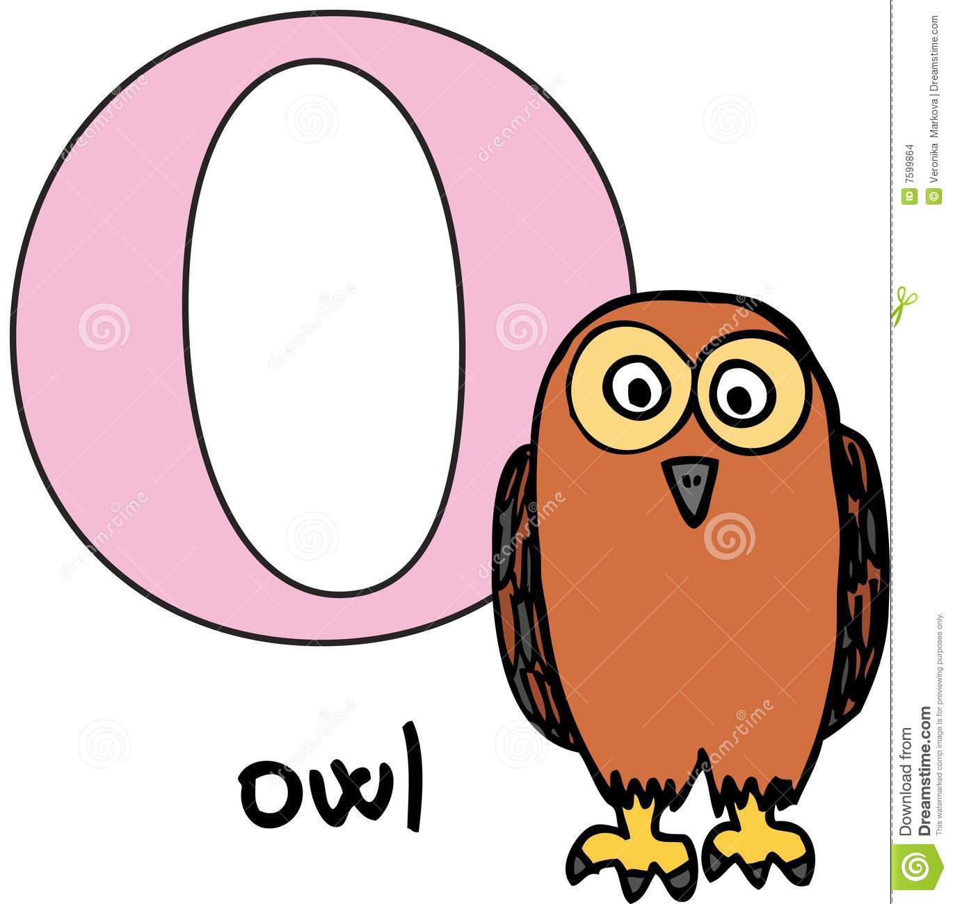 Animal Alphabet O Owl Stock Vector Illustration Of