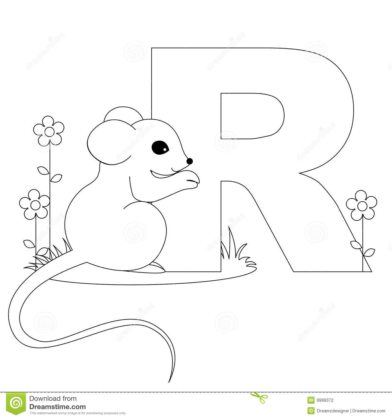 Animal Alphabet R Coloring Page Stock Vector