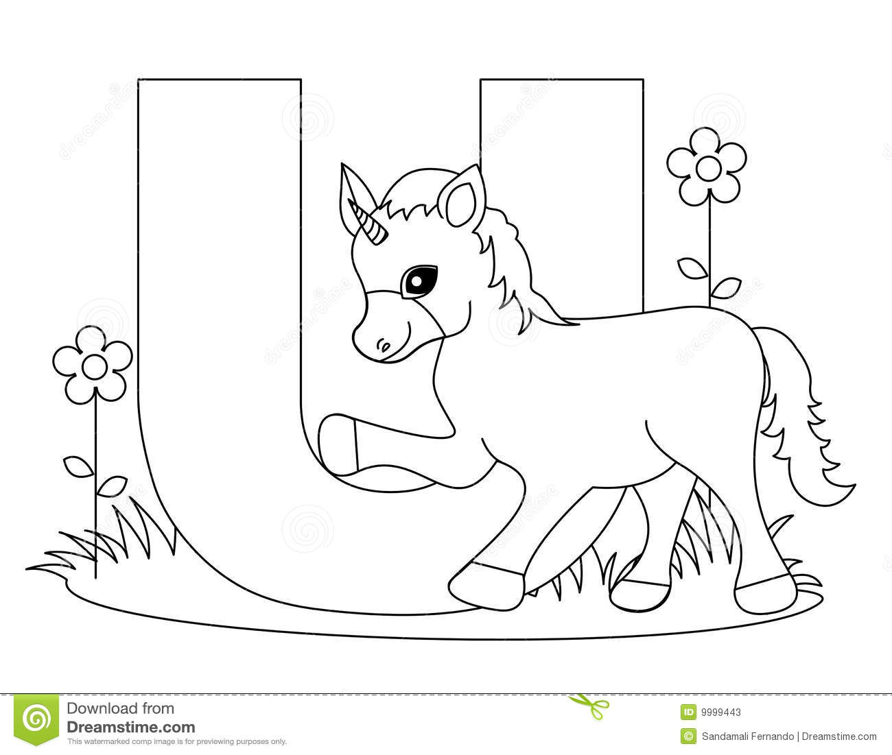 Animal Alphabet U Coloring Page Stock Vector