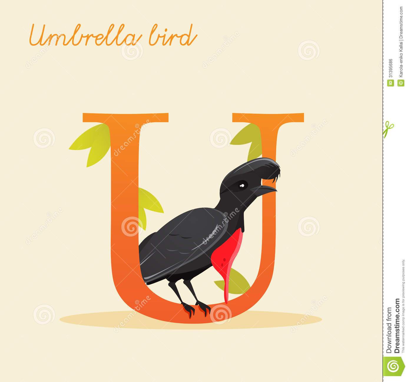 Animal Alphabet With Umbrella Bird Royalty Free Stock Image