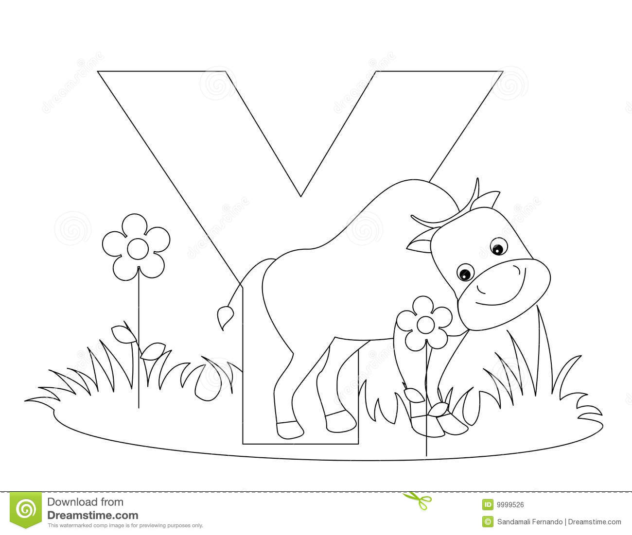 Animal Alphabet Y Coloring Page Royalty Free Stock Image