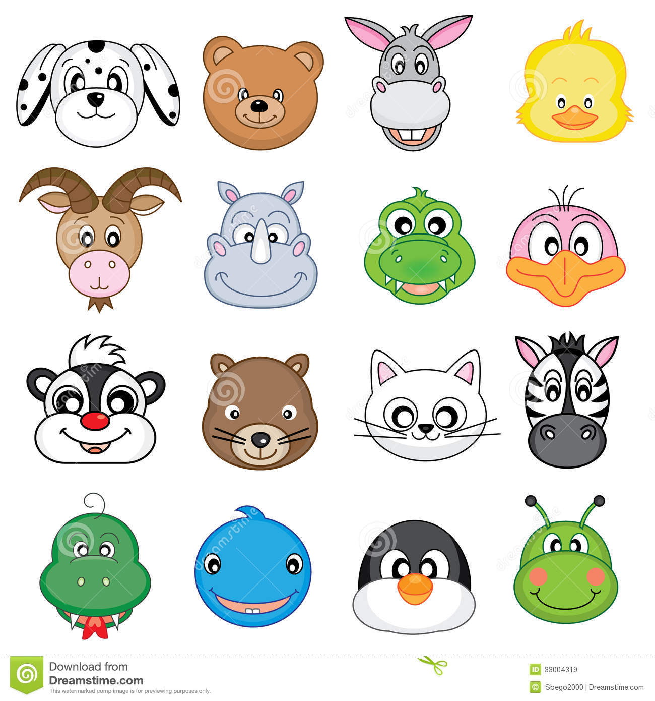 Animal Faces Icons Royalty Free Stock Images