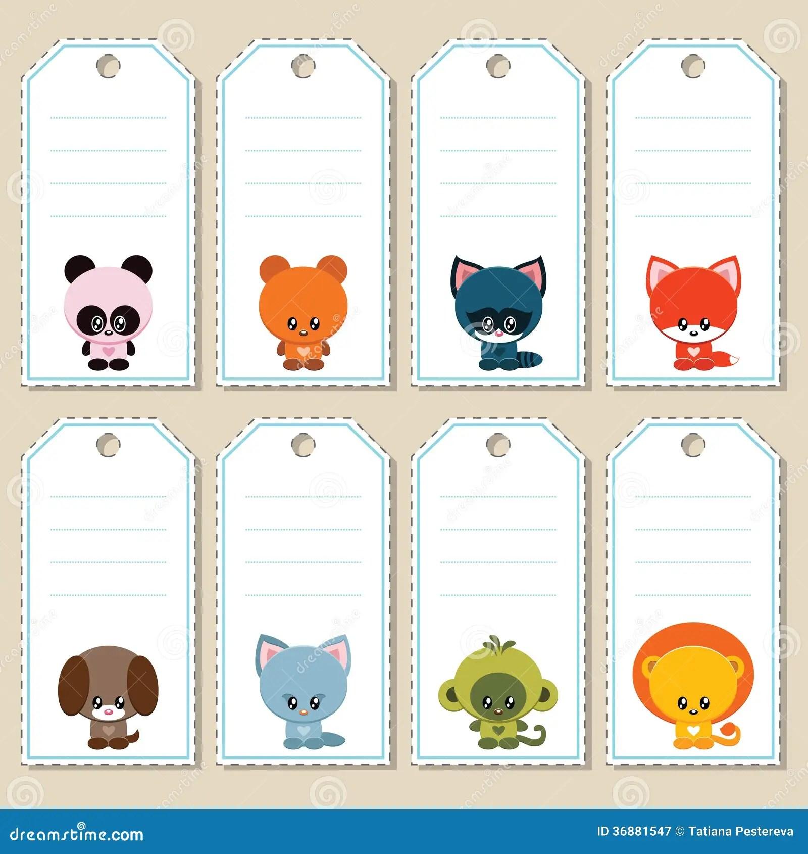 Animal Gift Tags Royalty Free Stock Photography Image