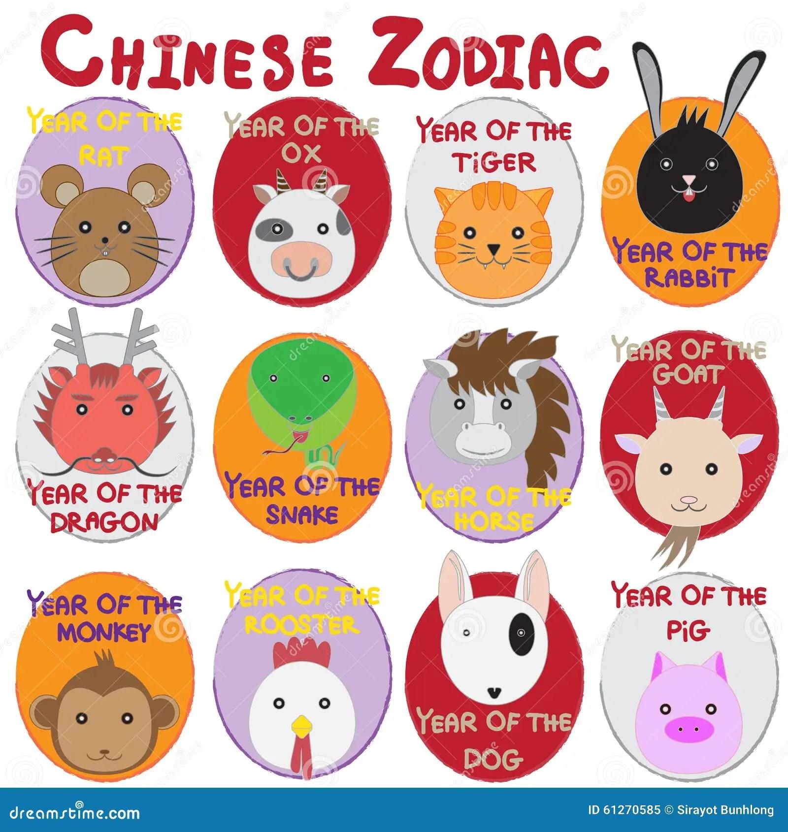 12 Animal Icon Set Chinese Zodiac Animal Stock Vector