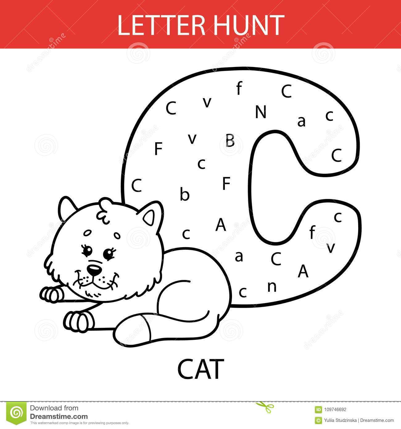 Animal Letter Hunt Cat Stock Vector Illustration Of Hunt
