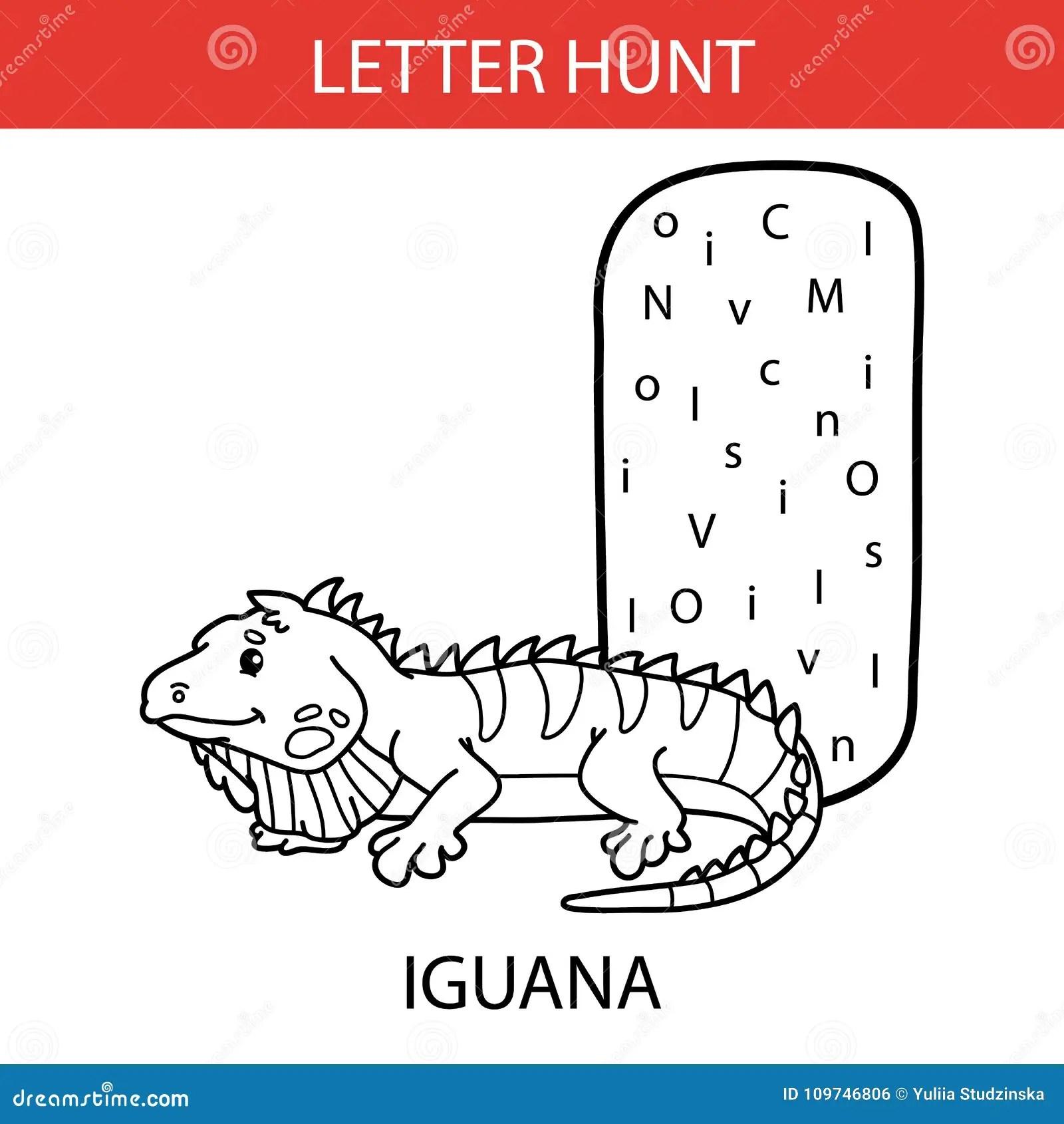Animal Letter Hunt Iguana Stock Vector Illustration Of