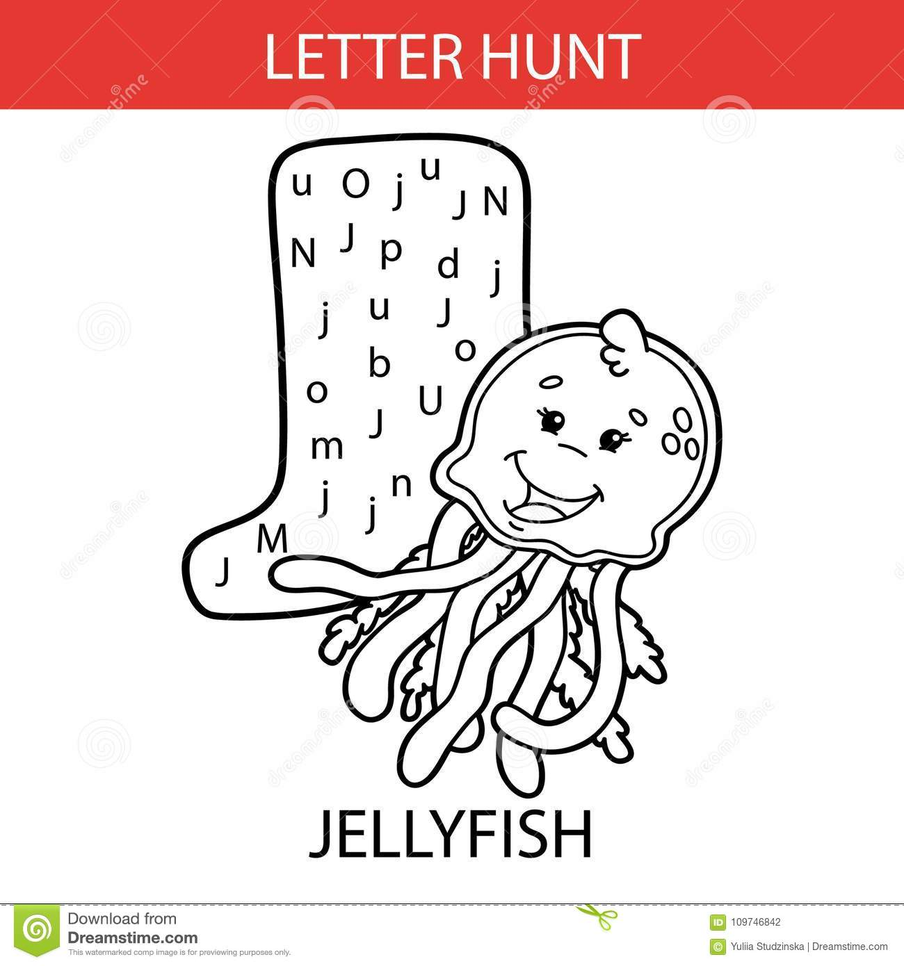 Animal Letter Hunt Jellyfish Stock Vector