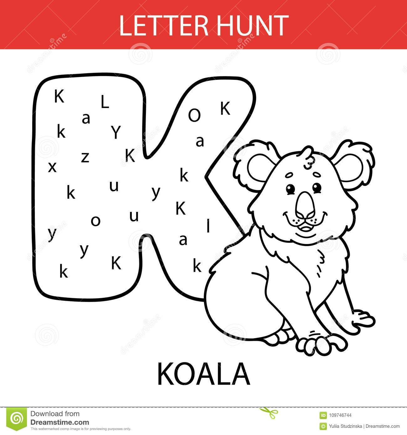 Animal Letter Hunt Koala Stock Vector Illustration Of Childhood