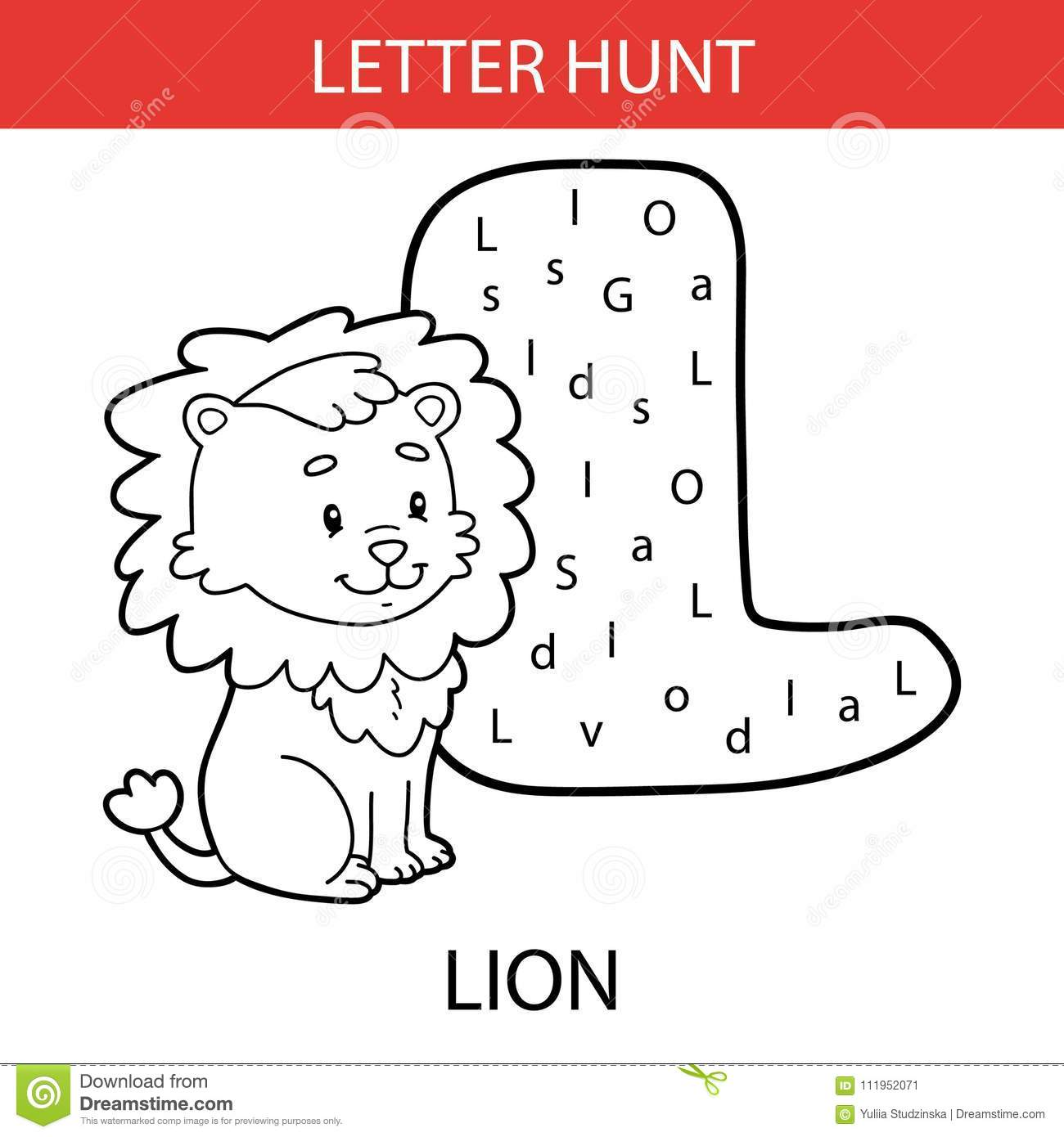 Animal Letter Hunt Lion Stock Vector Illustration Of