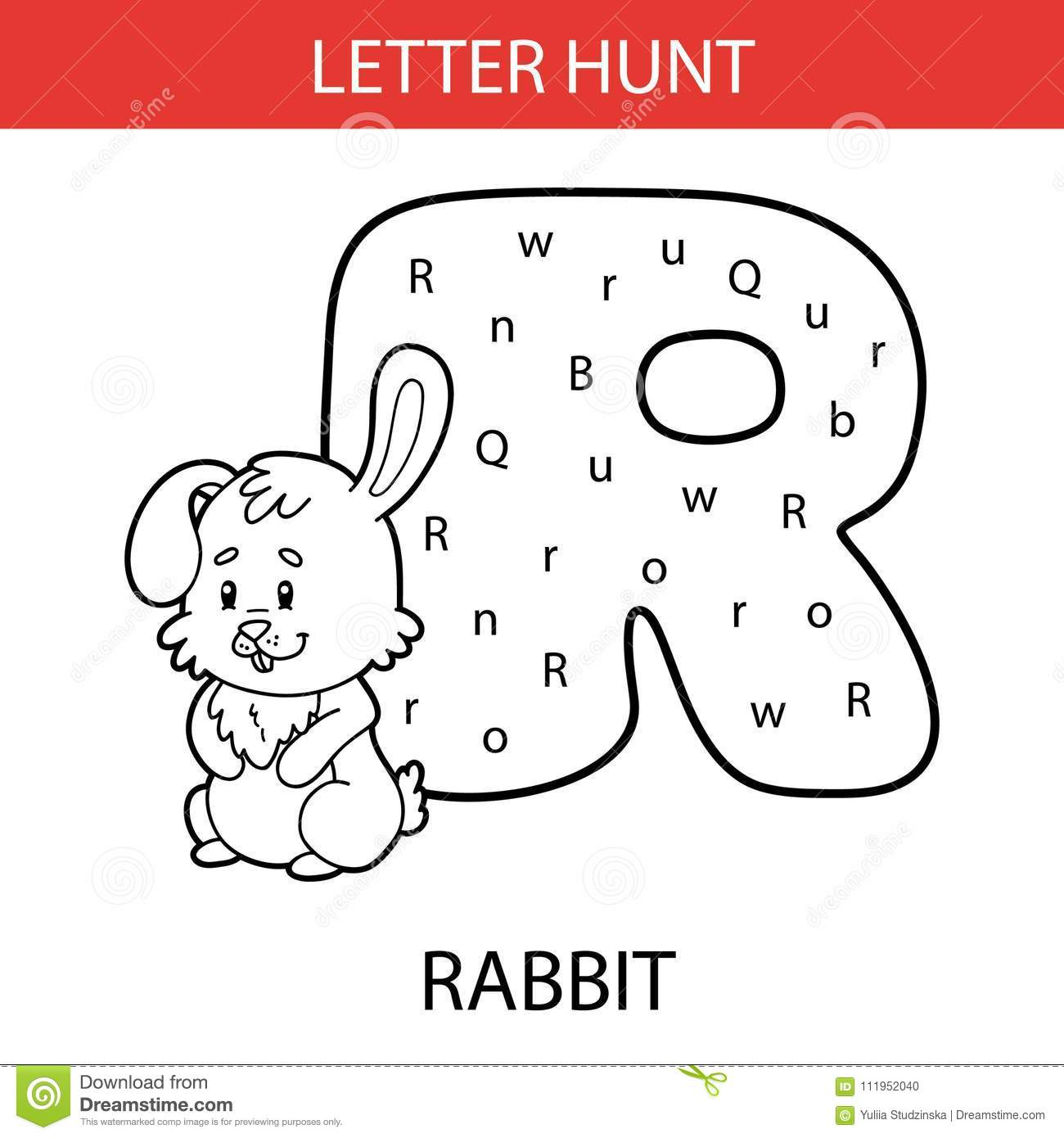 Animal Letter Hunt Rabbit Stock Vector Illustration Of