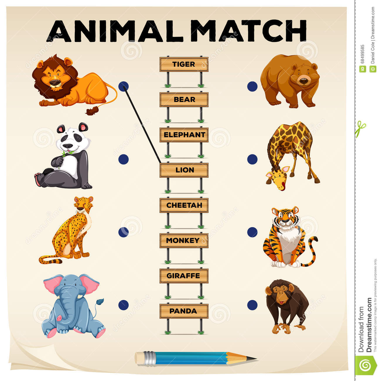 Animal Matching With Pictures And Words Stock Vector