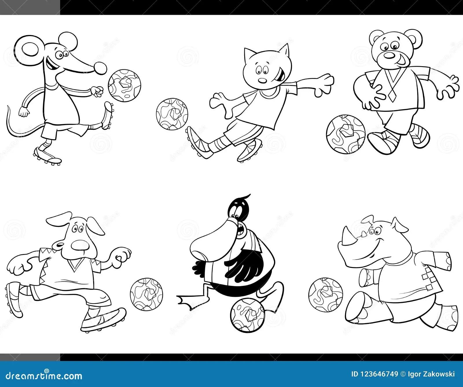 Coloring Sport Balls Characters Vector Illustration